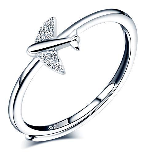 CPSLOVE Anillo de mujer niña, anillo de plata de ley 925, Anillo de avión, circón con incrustaciones, anillo abierto, tamaño ajustable, anillo de bodas, Circunferencia de dedo adecuada:48,5-57mm