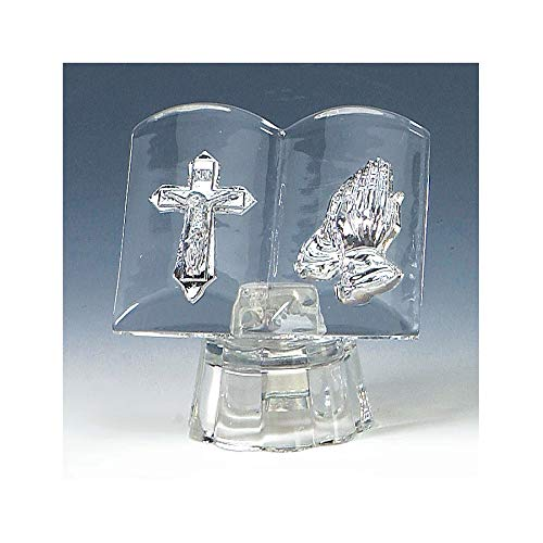 Lighted Crystal Glass Bible with Jesus Crucifixation and Praying Hands Icon First Communion Favor 3-inch - Set of 6 Icons