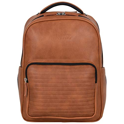 "Kenneth Cole On Track Pack Vegan Leather 15.6"" Laptop & Tablet Bookbag Anti-Theft RFID Backpack for School, Work, Travel, Cognac, Laptop"