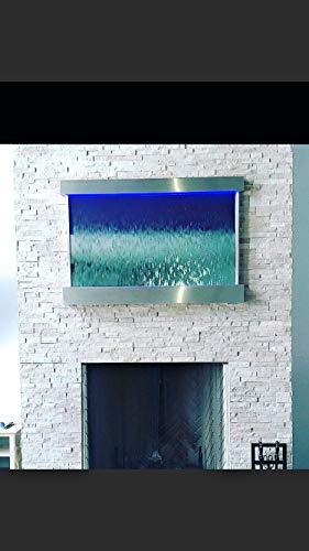"Jersey Home Decor Waterfall XXL 52""x35"" Wall Fountain, Stainless Steel,Mirror Glass, Color Lights, Remote Ctrl"