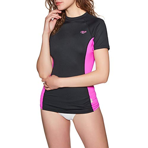 ONeill Womens Premium Skins coltrui met korte mouwen Quick Dry Lichtgewicht Rash Vest Top Black Berry Slim Fit - Easy Stretch