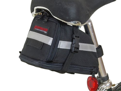 Bushwhacker Tacoma - Large Bicycle Expandable Seat Bag - w/Reflective Trim & Light Clip Attachment - Cycling Under Seat Wedge Bike Rear Saddle Pack Frame Front Accessories