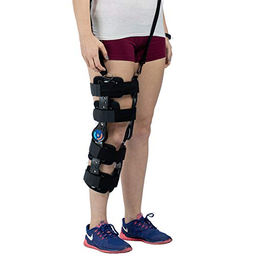 Hinged ROM Knee Brace with Strap, Adjustable Leg Stabilizer Post OP Recovery Immobilization Splint - Medical Orthopedic Guard Protector Patella Injury Immobilizer Brace