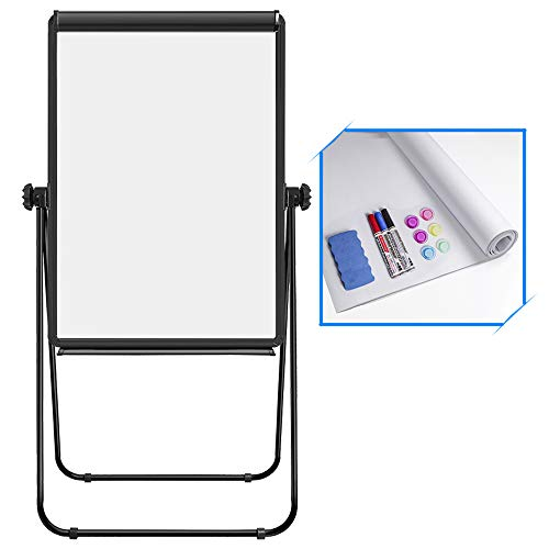 Double Sided White Board with Stands, Magnetic Whiteboard 40 x 28 inch Easel Stand, Height Adjustable Portable Dry Erase Board with 6 Magnets, 3 Markers, 1 Eraser for Home Office Teaching