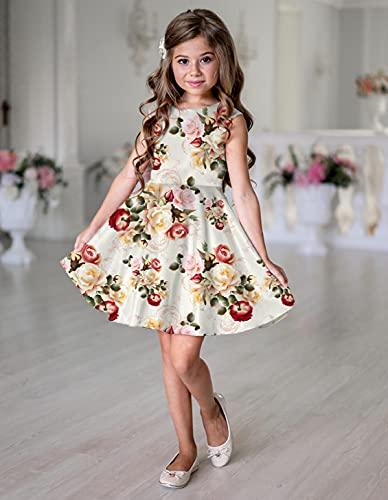 HARRICA Fashion Girls Dress Kids Floral Digitally Printed Satin Lycra Blend Sleeveless Frock Party Dress Casual Dress for 2-6 Years Kids