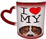 Taza de café Amo a mi perro cachorro Beagle Taza mágica sensible al calor que cambia de color en el cielo Tazas de café Regalos personalizados para los amantes de la familia Amigos