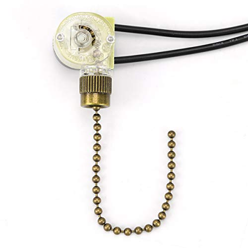 ZE-109 On-Off Speed Control Ceiling Fan Switch, Pull Chain Switch Compatible with Hunter Ceiling Fan Light, Lamps (Bronze Pull Chain)