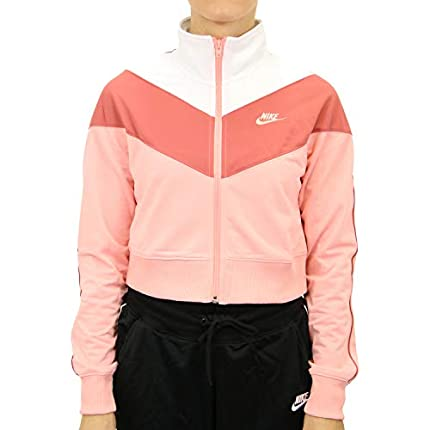 NIKE Sportswear Heritage Chaqueta, Mujer, Bleached Coral/Bleached Coral, L