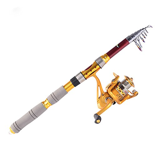 Ryask (TM) UK Hybrid Carbon pesca 2.1m 2,1m telescopio portatile canna da pesca da viaggio spinning canna da pesca