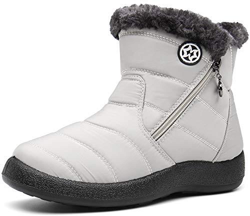 Gaatpot Zapatos Invierno Mujer Botas de Nieve Forradas Zapatillas Botines Planas con Cremallera Beige 39