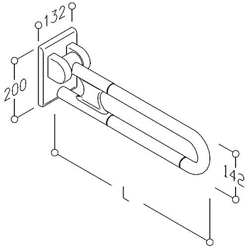 Barre d'appui rabattable longueur 850mm NY347050 blanc réf 0300473019