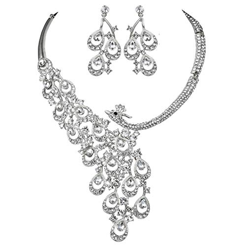 Janefashions Peacock Clear White Austrian Rhinestone Crystal Bib Statement Necklace Earrings Jewelry Set Party Bridal Wedding Silver N1391