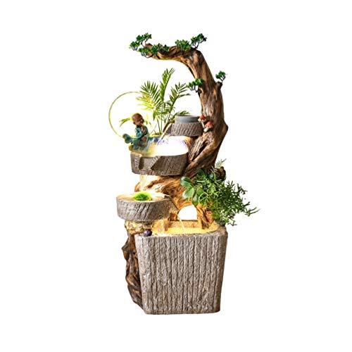 Cvthfyky Que Fluye de Suelo a Techo Agua Decoraciones, Decoración Paisaje Té Sala de Estar Jardín, Escultura Pastoral Cubierta (Size : Small)
