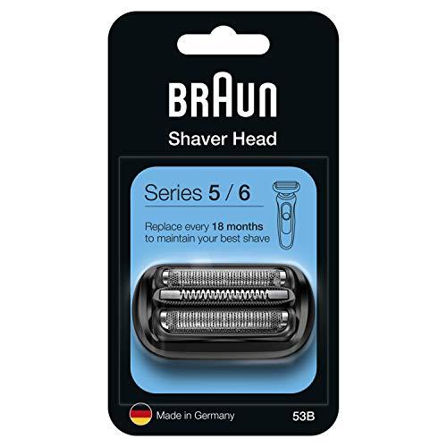 Braun Series 5 53B Testina di Ricambio per Rasoio Elettrico Uomo, Compatibile con i Rasoi Series 5 e Series 6, Nero