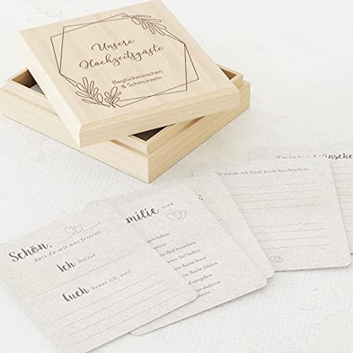 sendmoments Gästebuchkarten Hochzeit, Hochzeitskarten, 60 vorgedruckte Ausfüllkarten 88 x 105 mm in Erinnerungsbox 113 x 130 mm mit individueller Gravur, Geometrisch Zweige-Motiv, Hochzeitsgeschenk