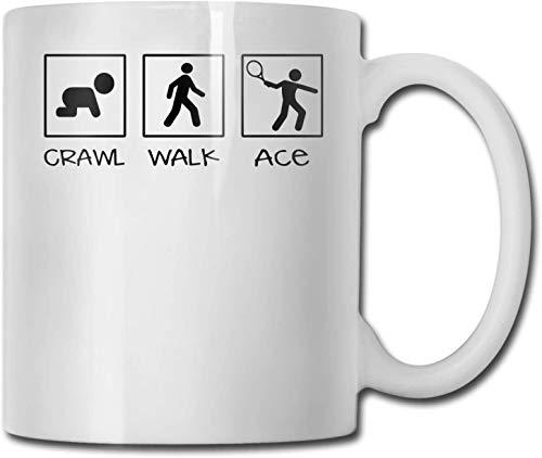 Taza de café blanca de cerámica única Crawl Walk Ace, taza de té para oficina, hogar, diversión, novedad, regalo, taza de bebida divertida de 11 oz para hombres y mujeres