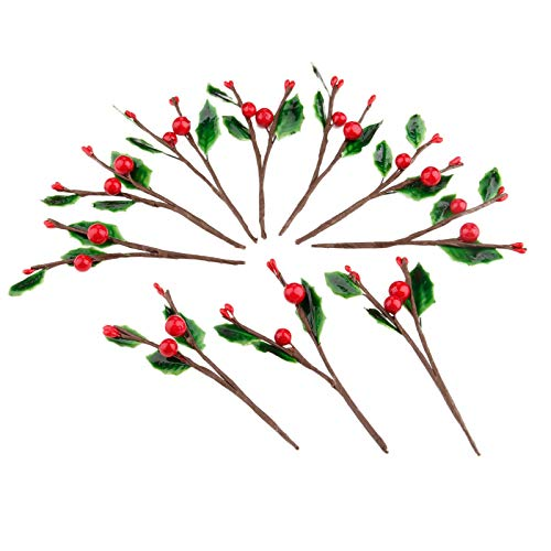 JXHYKJ 10Pcs Artificial Berry Branches Red Foam Cherry Little Fruits with Green Leaves Wedding Christmas Wreath Crafts Home Decoration