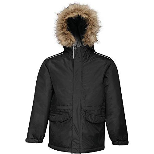 Regatta Kid's Professional Cadet Waterproof Insulated Faux Fur Hooded Parka Jacket with Safety Reflective Detail, Black (Seal Grey), Size: 11-12