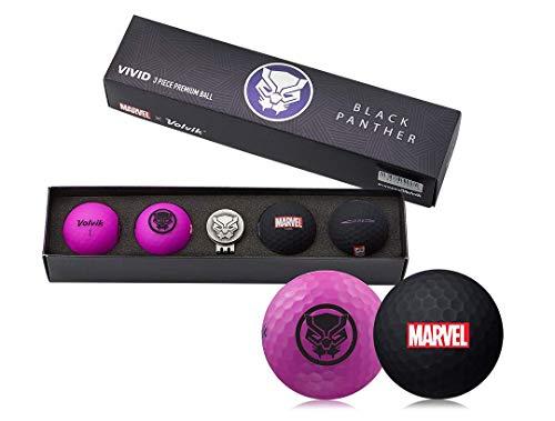 Volvik Marvel Golf Balls – Varios Juegos de Regalo de superhéroes – Spiderman/Hulk/Thor/Black Panther/Captain America/Iron Man, Set de Regalo de Cuatro Bolas y Marcador de Bola