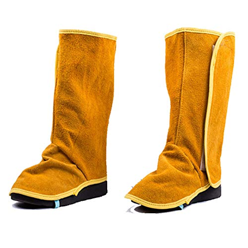 Heavy Duty Cowhide Leather Shoe Protector, Flame Resistant Welding Spats, Welder Working Protective Shoes Feet Cover, Welding Boot Covers