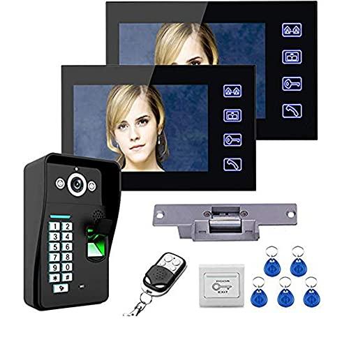 BAOZUPO Kit de sistema de intercomunicación con videoportero, timbre con video de 7 pulgadas, 2 monitores LCD + cámara + SIN cerradura eléctrica + contraseña de huella digital Desbloqueo de control re