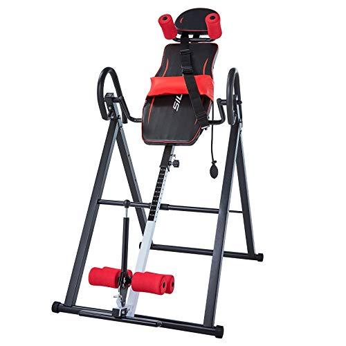 HIRAM Schwerkrafttrainer Inversionsbank mit Rückenlehnen und Knöchelstütze klappbarer Inversionstisch, Inversion bis 180 Grad, Multifunktionsgerät Rückentrainer Klimmzugstange