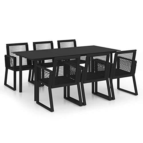 Tidyard Mesas de Comedor de Patio Conjuntos de Muebles de jardín Juego de Comedor de jardín 7 Piezas ratán PVC Negro