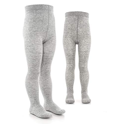 LaLoona Baby und Kinder Strumpfhosen Set - 2er Pack elastische Babystrumpfhosen mit breitem Bund und hohem Baumwolle Anteil - 50/56 (0-3 Monate) - Grau