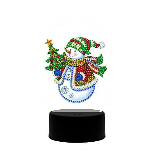 DIY 5D Diamond Painting by Number Kit Full Round Drill Round Rhinestone Embroidery Pictures for Decoration Snowman and Christmas Tree 9.8x13.8 in by LANSUER