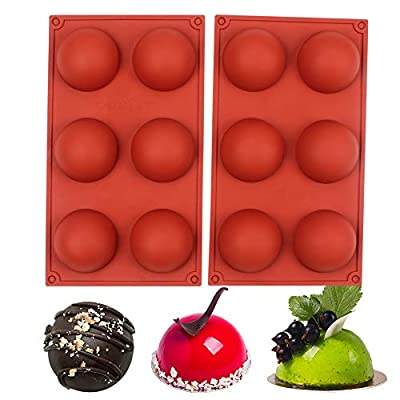 BAKER DEPOT 6 Holes Silicone Mold For Chocolate, Cake, Jelly, Pudding, Handmade Soap, Round Shape, Dia: 2 1/2 inches, Set of 2