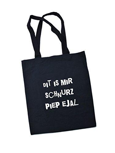 Jutebeutel bedruckt mit Berliner Spruch schnurz - / Stoffbeutel / Jute Beutel / Einkaufsbeutel Baumwolle mit Sprüchen von SPREE Klamotte Berlin - Statement Sprüche Tasche - schwarz