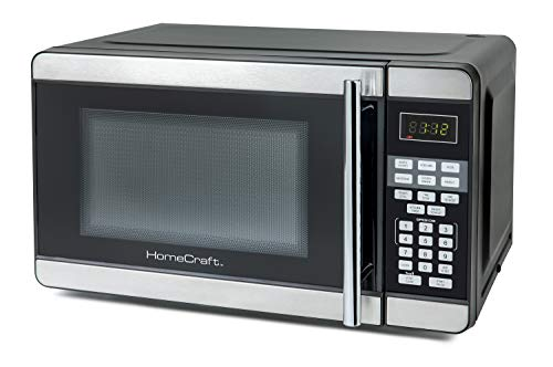 HomeCraft HCMO7SB 0.7 Cu. Ft. Stainless Steel Microwave Oven With LED Display 10 Power Levels, 6 Cook Settings, Popcorn, Pizza, Beverage, Baked Potato, Frozen Dinner, Reheat