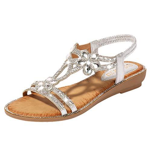 feftops Mujes Sandalias de Plana Bohemio Espiga Diamante Playa Clip Toe Pisos Cómodo Casual Zapatos Sandalias de Playa