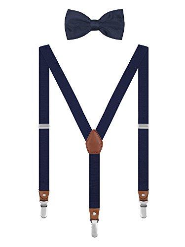 Irypulse Unisex Hosenträger mit Fliege Set Y-Form 3 Clips Retro für Herren Damen Jugendliche, Chic Hosenträger Fit für 150-180cm Höhe - Marineblau
