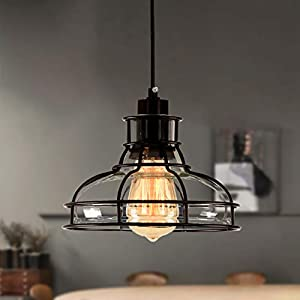 PAPAYA Retro Mini Chandelier Farmhouse Industrial Iron Pendant Lighting Ceiling fixtures cage Concise Ceiling Light for Kitchen Island 1-Light