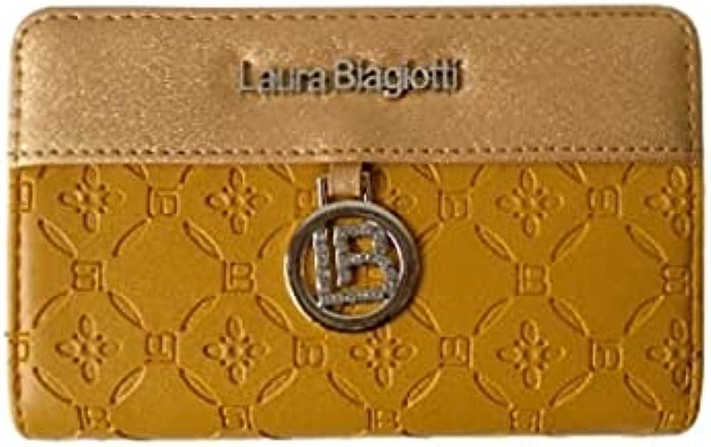 Laura biagiotti porta carte di credito portafoglio da donna in similpelle Ocra1