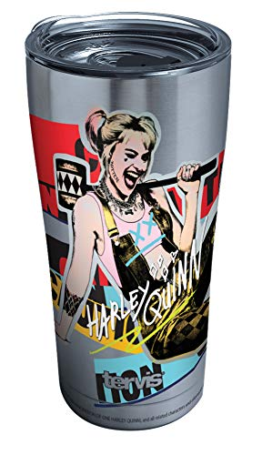Tervis Warner Brothers - Birds of Prey Harley Quinn Stainless Steel Insulated Tumbler with Clear and Black Hammer Lid, 20oz, Silver