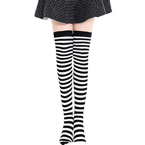 ZZBO Frauen Kniehohe Strumpf Clown Socken Bunt Hoher Schlauch Socken Striped Oberschenkel Hohe Socken Baumwollesocken Fancy Dress Hohe Stiefelstrümpfe