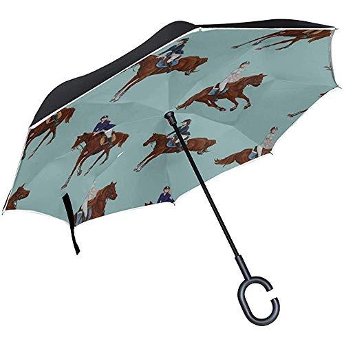 ETGeed Paraguas Plegable invertido Compacto Infantil Colorido Caballo Animal de Dibujos Animados Paraguas Reversible