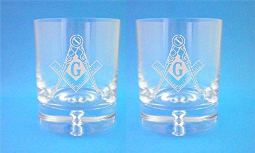 Paar Bubble Base Whisky Bril met Masonic Emblem Design