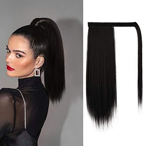 BARSDAR Pferdeschwanz Extensions 35 cm kurze gerade Pferdeschwanz Haarverlängerung Zopf HaarteilPferdeschwanz für Frauen Natürliches Schwarz 4#