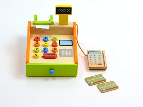 Unbekannt Ladenkasse aus Holz mit Tasten, 2 Kreditkarten, Kartenlesegerät, Bonrolle, Geldlade + Display / Größe: 26 x 16,5 x 16 cm / für Kinder ab 3