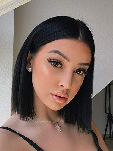 Juziviee Black Hair Wigs for Women, 12'' Cute Short Black Bob Hair Wig, Natural Looking Soft Synthetic Full Wigs for Daily Party Cosplay AD015BK