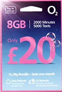 「O2 」O2 イギリス他ヨーロッパ各国対応 プリペイドSIM (30日間 8GB 2000分無料通話)