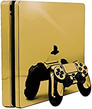Gold Chrome Mirror Vinyl Decal Faceplate Mod Skin Kit for Sony PlayStation 4 Slim (PS4S) Console by System Skins