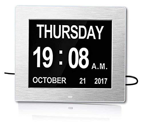 SIRENK Calendario Digital Reloj de Alarma Reloj de día de 8 Pulgadas con discapacidad Visual de Ancianos, Enfermedad de Alzheimer Exhibición de Pantalla Grande