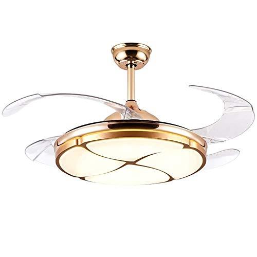 Luz del ventilador de techo de trébol de 42 pulgadas de cuatro hojas con control remoto Araña de ventilador de interior con 4 cuchillas retráctiles Lámpara de ventilador moderna ( Voltage : 110V )