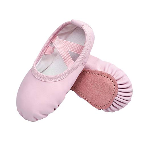 STELLE Girls Ballet Dance Shoes Slippers for Kids Toddler (Pink, 9MT)