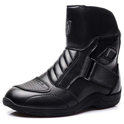 DFGRFN Botas de Moto Impermeables para Hombre,Zapatos de Carreras Antideslizantes Bota de Motociclismo,Bota Protectora de Piel para Scooter en Carretera Touring,Black-40