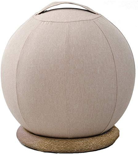 [山善] バランスボール 55cm バランスチェア (土台/空気入れ/カバー/取っ手付き) 椅子 インテリアに馴染みやすい ベージュ HBS-55(BE)